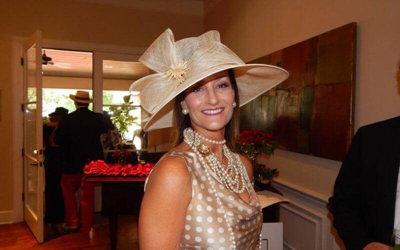 Woman in fancy hat for Kentucky Derby